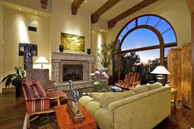 Living Room:Awesome Tropical Spanish Style Living Room Design With Stone  Fireplace Decora Idea Awesome
