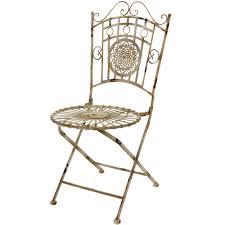 Oriental Furniture Wrought Iron Garden Chair Distressed White