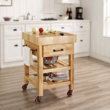 Crosley Furniture Kitchen Cart Crosley Marston Natural Kitchen Cart With Butcher Block Top Cf3007