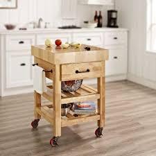 Crosley Furniture Kitchen Cart Crosley Marston Natural Kitchen Cart With Butcher Block Top Cf3007