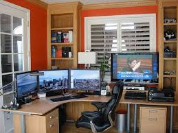incredible office desk ikea besta. Beautiful Yet Modern IKEA Home Office Ideas : EyeCatching Orange Wall Painting Design With Large Curved Computer Desk And Sophisticated Incredible Ikea Besta W