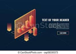 Cool Business Analytics Concept Data Visualization 3d Infographics Charts And Diagram Isometric Vector