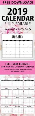 Free Fully Editable 2019 Calendar Template In Word | Best Of ...