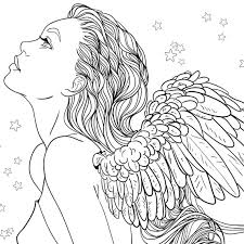 Small Picture Adult Coloring Page Fantasy Girl Angel by LineArtsy coloring