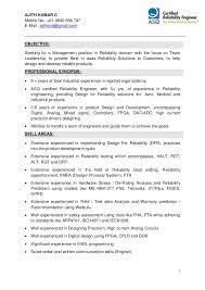 ajith kumar c mobile no 91 9840 658 787 e mail certified reliability engineer