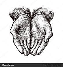 сложа руки чашевидный или открытые руки эскиз винтажные векторные