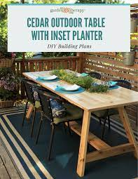 cedar outdoor dining table with planter