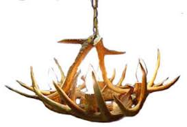 real antler whitetail deer low profile chandelier light