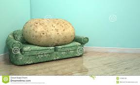 Old Sofa Couch Potato On Old Sofa Stock Illustration Image 47066105