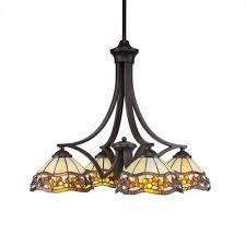 zilo dark granite four light chandelier with roman jewel tiffany glass