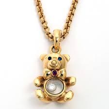 chopard ショパールハッピーテディベアダイヤモンドペンダントネックレス k18yg pendant