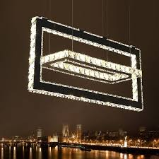 modern led crystal chandelier with square stainless steel plating