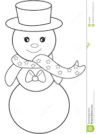 Snowman Coloring Page Stock Illustration Illustration Of Clip