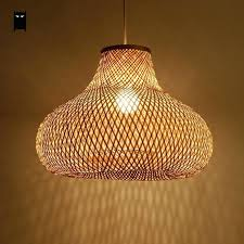 asian ceiling lamp hand bamboo wicker rattan gourd shade pendant light fixture ceiling lamp oriental style asian ceiling lamp