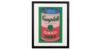 campbell s soup can 1965 by andy warhol 40 x 50cm framed print red green wall art home accessories made com