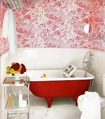 modern funky pink bathroom. View In Gallery Claw-foot Bathtub Bright Red Brings Together The Modern And Vintage Funky Pink Bathroom K