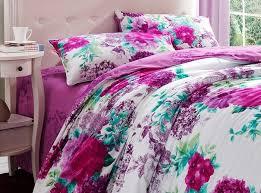 luxury purple and white fl bedding set