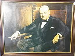 lot 348 painting of sir winston churchill signed by ian 1942