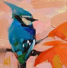 blue jay no 46 original bird oil painting by angela moulton 6 x 6 inch
