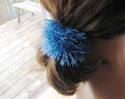 Chouchou Scrunchie Lastique Cheveux Tricot 100 Polyester Bleu