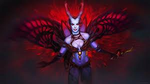 dota 2 akasha queen of pain girl demon horns wallpaper hd
