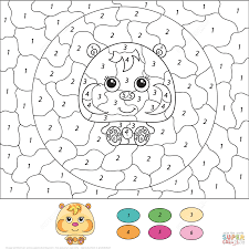 Small Picture Cute Hamster Color by Number Free Printable Coloring Pages