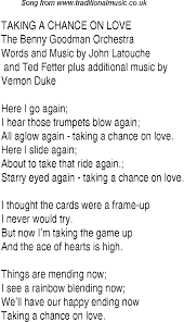 Top Songs 1943 Music Charts Lyrics For Taking A Chance On Love