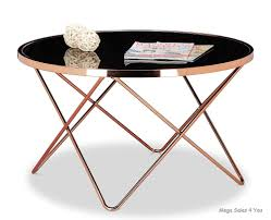 vintage large round coffee table copper metal frame black glass sofa side table