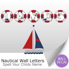 nautical ocean name wall letter stickers