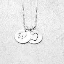 large initial heart necklace sterling silver initial necklace letter w necklace letter w pendant heart necklace charm necklace