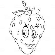 Cartoon Aardbei Happy Vruchten Emoticon Kleurplaat Ontwerp Van De