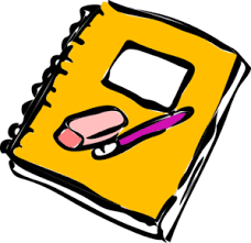 notebook with pencil and eraser clip art