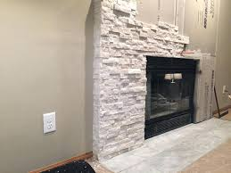 stacked stone veneer fireplace installing dry stack over brick installation
