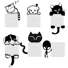 <b>DIY Funny Cute</b> Cat <b>Dog</b> Switch Stickers Wall Stickers Home ...
