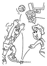 Kleurplaat Basketbal Scoren Sport