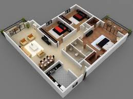inspiring 3 bedroom flat interior design 3d plans 3d small house