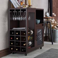 N Furniture Of America Ponne Industrial Chalkboard Walnut Mobile ServerMini  Bar