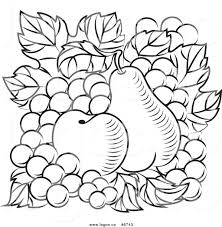 grapes clipart black and white. royalty free clip art vector logo of black and white apple pear grapes clipart