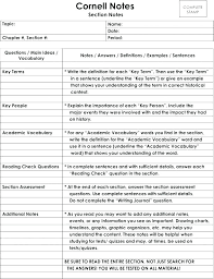 Cornell Notes Template Word Avid Cornell Notes Template Word Chanceinc Co