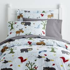 kids duvet cover printed all over with bears fo owls squirrels