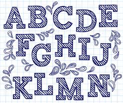 Blue Letters Blue Hand Drawn Font Shaded Letters And Decorations Stock Vector Image