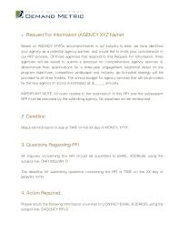 request for information template ad agency rfi template