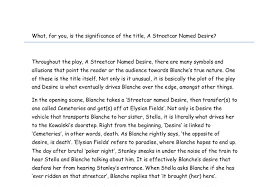 significance of the title a streetcar d desire a level  document image preview