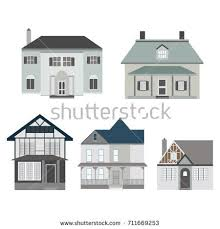 Set Different Types Houses Architecture Detailed Stock Vector Hd