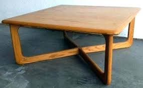 rectangle coffee table with rounded edges retro likely mid century modern vintage lane wooden light blonde wood tone low square corners measures x h in