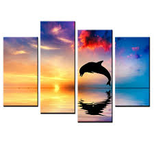 home decor prints on canvas dolphin wall art oil painting picture 4pcs no frame on dolphin canvas wall art with home decor prints on canvas dolphin wall art oil painting picture