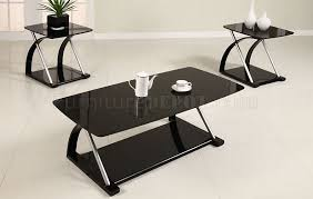 marvelous black living room end tables and black glass modern 3pc coffee table set wmetal frame