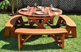 round wood picnic table round wood picnic table with wheels wood picnic tables for