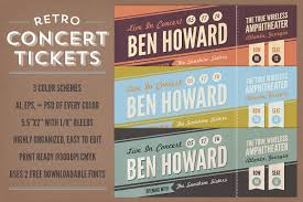 Concert Ticket Maker Retro Concert Tickets Stationery Templates Creative Market 16