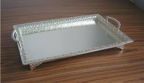 large serving trays rectangle silver plated alloy metal tray fruit dish decorative storage fl cut out large serving trays